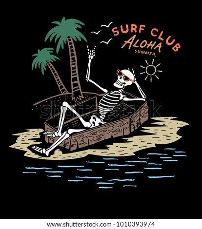 skeleton surfer ,Summer T shirt Graphic Design