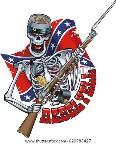skeleton wearing confederate