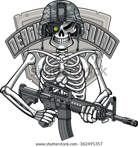 skeleton wearing military