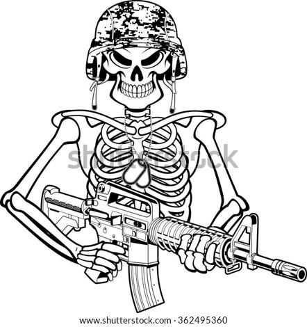 skeleton wearing military