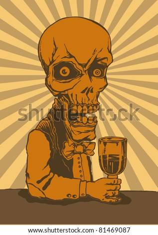 skeleton with a glass of poison and retro background. vector illustration