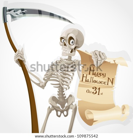 Skeleton with a scythe displays a poster with an invitation to a Halloween party
