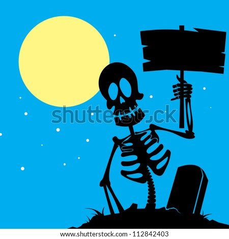 skeleton with a sign