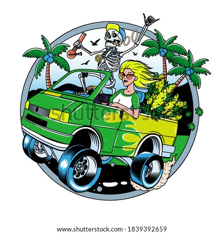 Skeleton with Jamb and Blondie Girl driving Van with Cannabis Bushes. Poster or T-shirt Designs. Vector Illustration. Photo stock ©