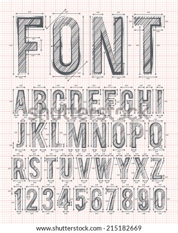 sketch alphabet font on red