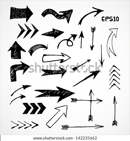 Sketch arrow collection for your design. Hand drawn with ink. Vector illustration.