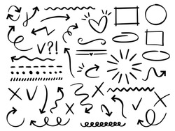 Sketch arrows and frames. Hand drawn arrow, doodle divider and circle, oval and square frame vector set. Underline and navigation symbols. Dotted and curvy lines. Scribble elements, cursors