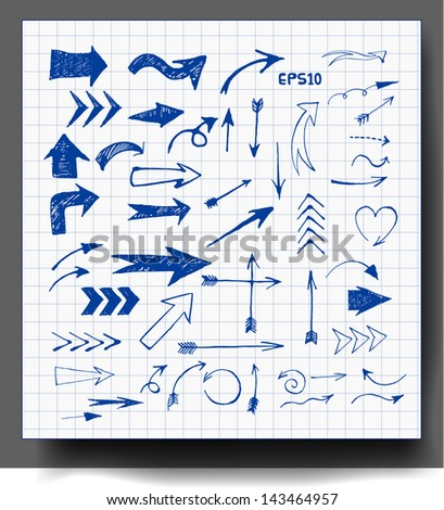 Sketch arrows collection for your design. Hand drawn with ink. Vector illustration.