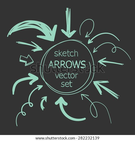 sketch arrows vector set