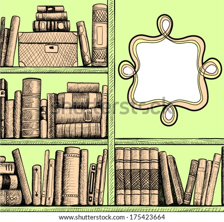 Sketch background with a book shelves