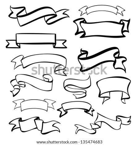 Sketch banners, labels set hand drawn vector llustration