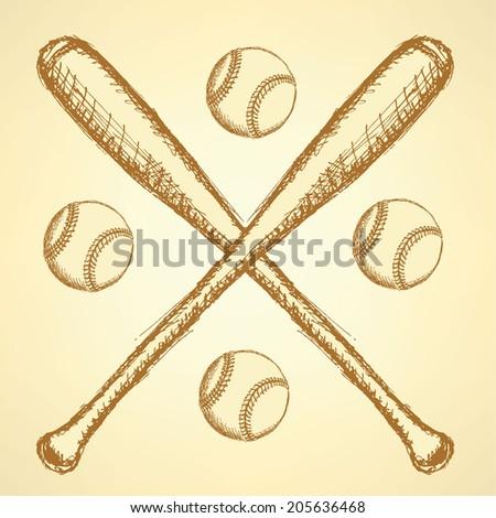 Sketch Baseball Ball And Vintage Background