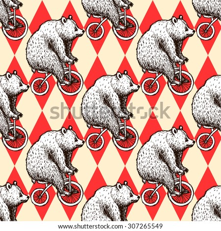 Sketch bear on a bike in vintage style, vector seamless pattern
