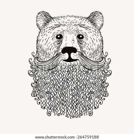 sketch bear with a beard hand