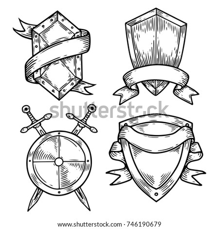 Sketch Blank or empty shields with swords and ribbons. Set of isolated royal badges, old or retro, vintage defence or quality signs. Achievement and privacy, insurance and guard, heraldry theme