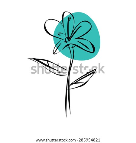 sketch blue flower with black