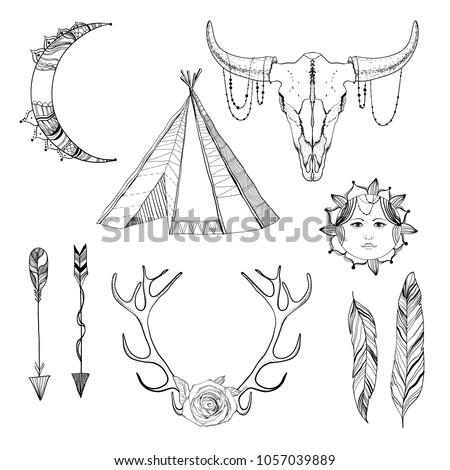 sketch boho elements set with