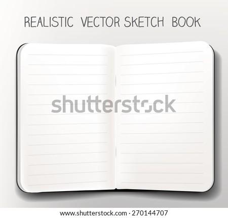 sketch book realistic vector