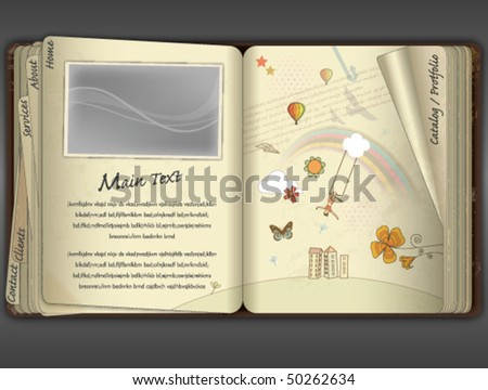 SKETCH BOOK, WEBSITE TEMPLATE. Editable vector illustration file.