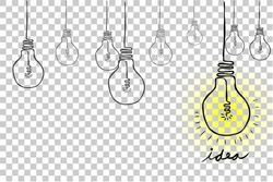 Sketch Bulb - Idea, at Transparent Effect Background