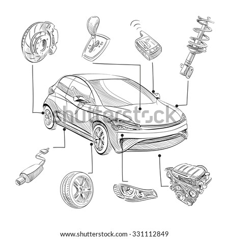 sketch car abstract vector