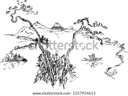 sketch chinese landscape