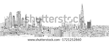 Sketch City of London business area view in 2020. Financial district with banks, office buildings and Thames river and London bridge. UK