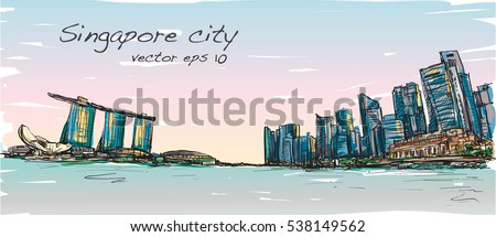 sketch city scape of singapore