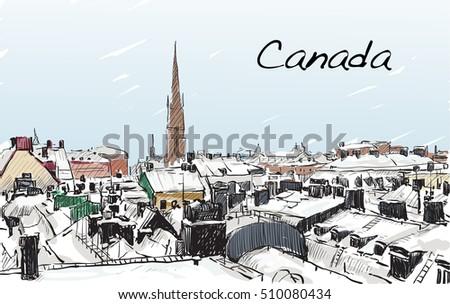 sketch cityscape of canada show