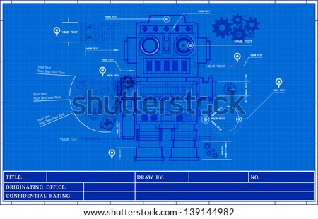 Sketch classic robot blueprint of mechanic on a blueprint paper background illustrator vector