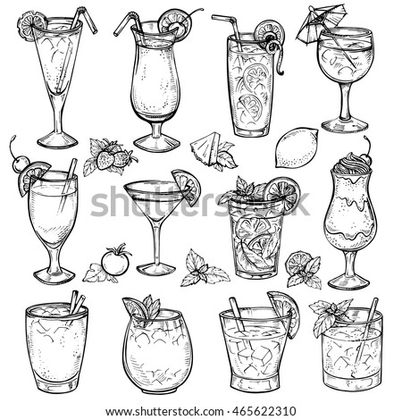 Sketch cocktails, alcohol drinks set. Hand drawn vector illustration. Martini, bloody mary, margarita, tequila, cosmopolitan, mojito, pina colada, whiskey, margarita, juice, milk shake and other.