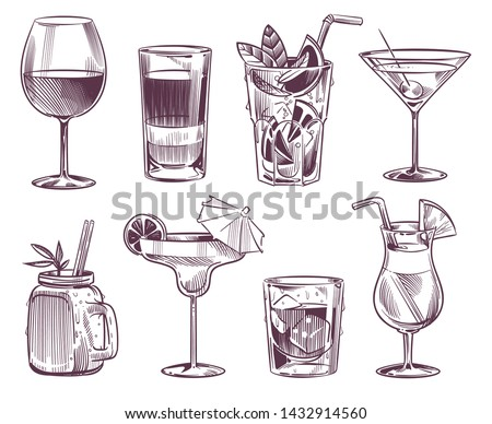 Sketch cocktails. Hand drawn cocktail and alcohol drink, different drinks in glass for party restaurant menu with sketched daiquiris, tonic and sweet martini. Vector illustration set