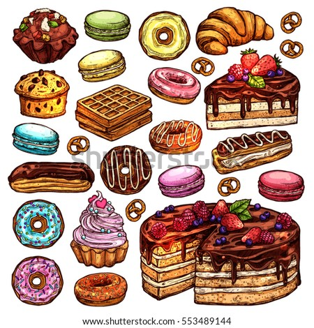 sketch collection of bakery