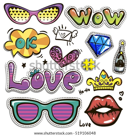 Sketch comics Set of stickers with hearts, speech bubbles, text wow, love, ok, lips, crown, sunglasses, brilliant, letter, champagne bottle. Girlish fashion elements. Comic style. Fashion patch badges
