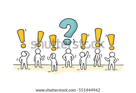 Sketch - crowd of working little people with question sign and exclamation point. Doodle cute miniature teamwork find right decision. Hand drawn cartoon vector illustration for business design.