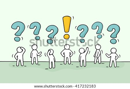 Sketch - crowd of working little people with question sings and exclamation point. Doodle cute miniature teamwork find right decision. Hand drawn cartoon vector illustration for business design.