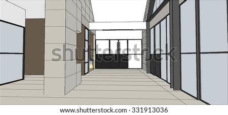 sketch design of hall interior