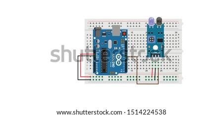 sketch diagram of arduino interfacing with IR Sensor