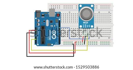 sketch diagram of arduino interfacing with mq4 sensor
