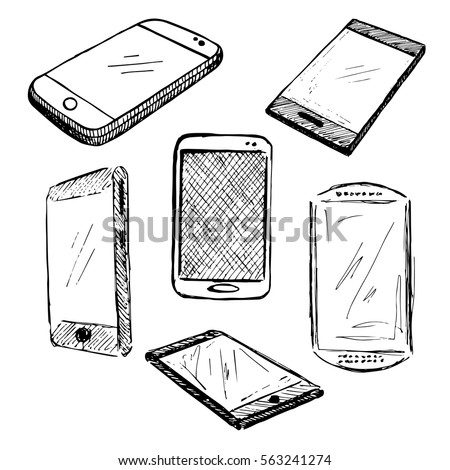Sketch different phones, smartphones, iphon. Hand made vector illustration.