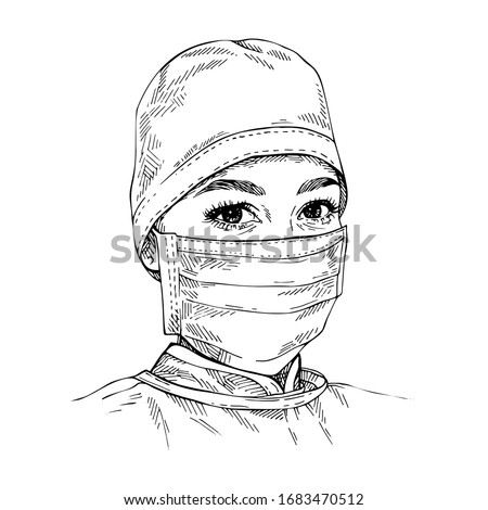 Sketch Doctor wearing medical face mask and cap. COVID-19 coronavirus protection. Hand drawn portrait of young female doctor. Foto stock ©