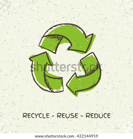 Sketch doodle recycle reuse symbol isolated on craft paper background. Hand drawn vector recycle icon. Recycle sign for ecological design