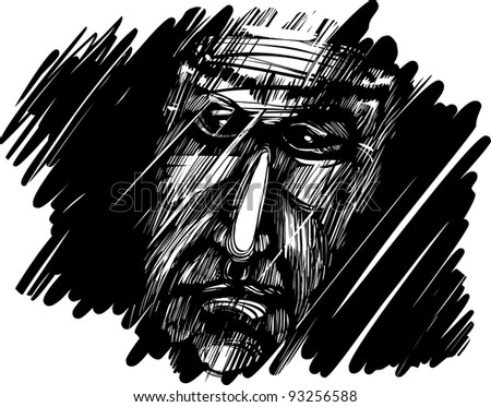 sketch drawing illustration of old man's face in the dark