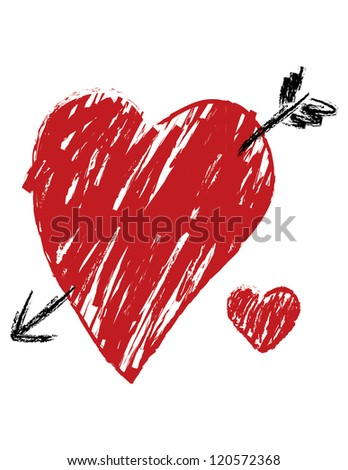 Sketch Drawing of a Heart in a Loose, Crayon Style isolated on white