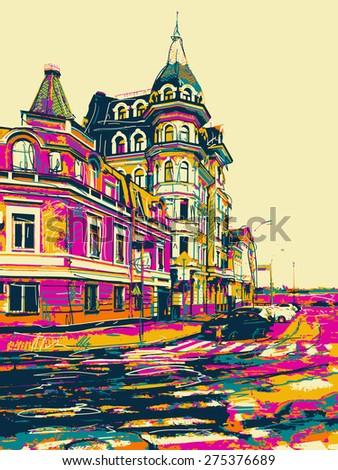 sketch drawing of city kyiv