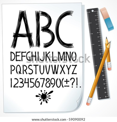 Sketch drawn alphabet on paper. Vector design font. All objects separated and grouped