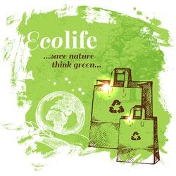 Sketch ecology background. Hand drawn vector illustration