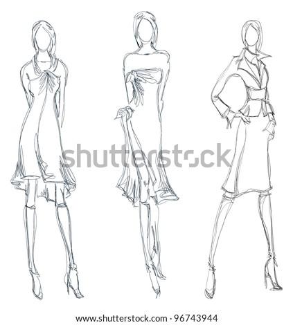 sketch fashion girl hand
