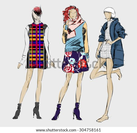 sketch fashion girls