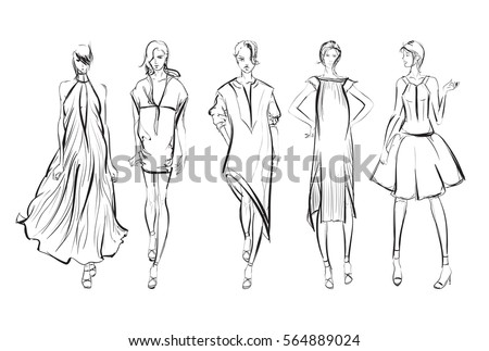 Sketch. Fashion Girls on a white background - Shutterstock ID 564889024